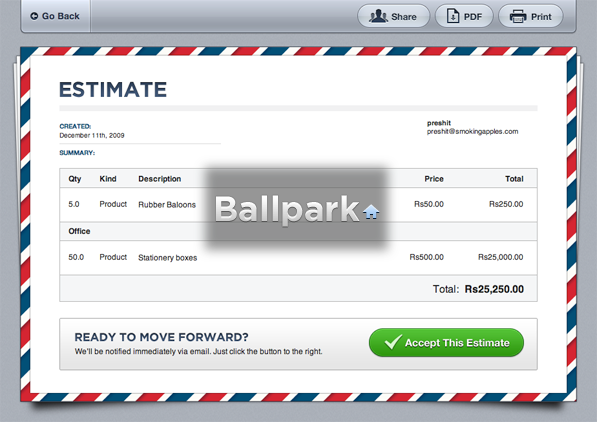 Ballpark app: Pixel Perfect Estimates and Invoicing