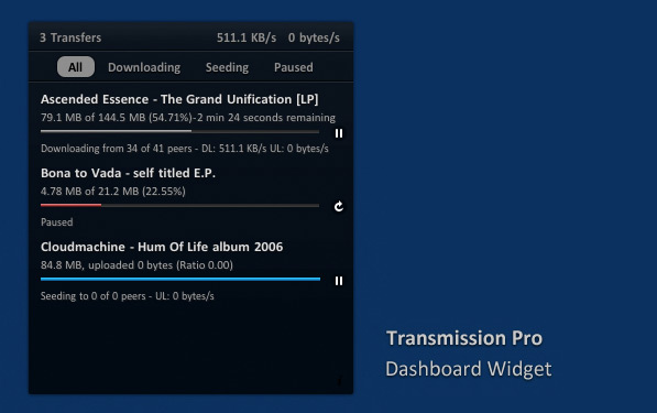 Transmission Pro Dashboard Widget