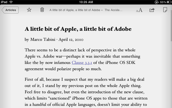 Post image for Instapaper on the iPad. Words escape me.