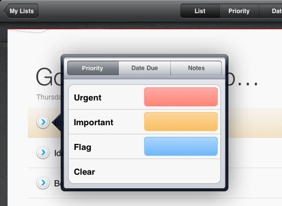 Sorted, for iPad: Tasks, like on a sheet of paper