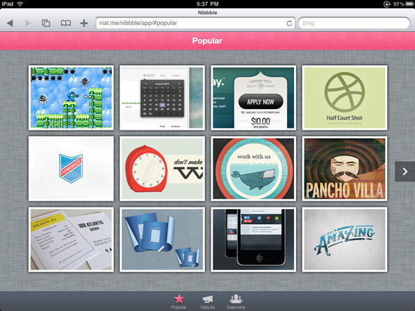 Post image for Nibbble — This is how I browse dribbble on my iPad