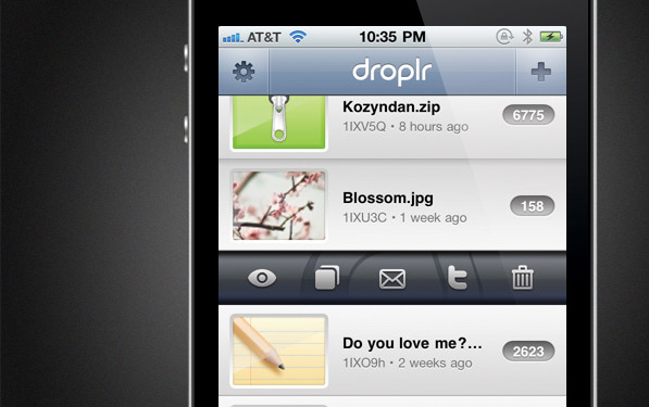 Droplr for iPhone dressed up pretty!