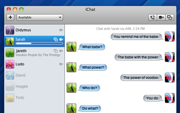 iChat One: A single-windowed user interface mockup by Bjango