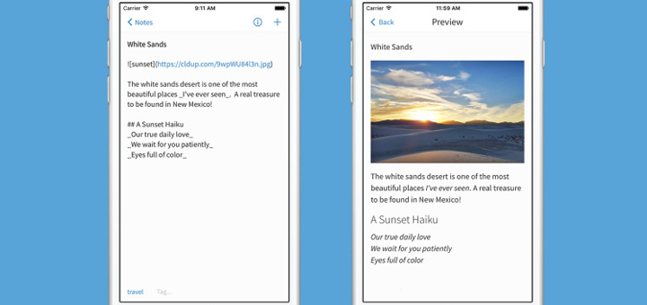 Simplenote for iOS with Markdown