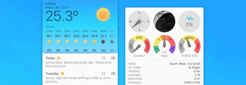 iStat Menus 6 Weather Widget