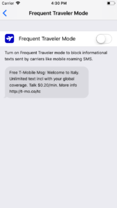 Frequent Traveler Mode in SMS Shield SMS Spam Filtering for iPhone