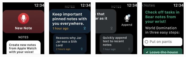 Bear App for Apple Watch