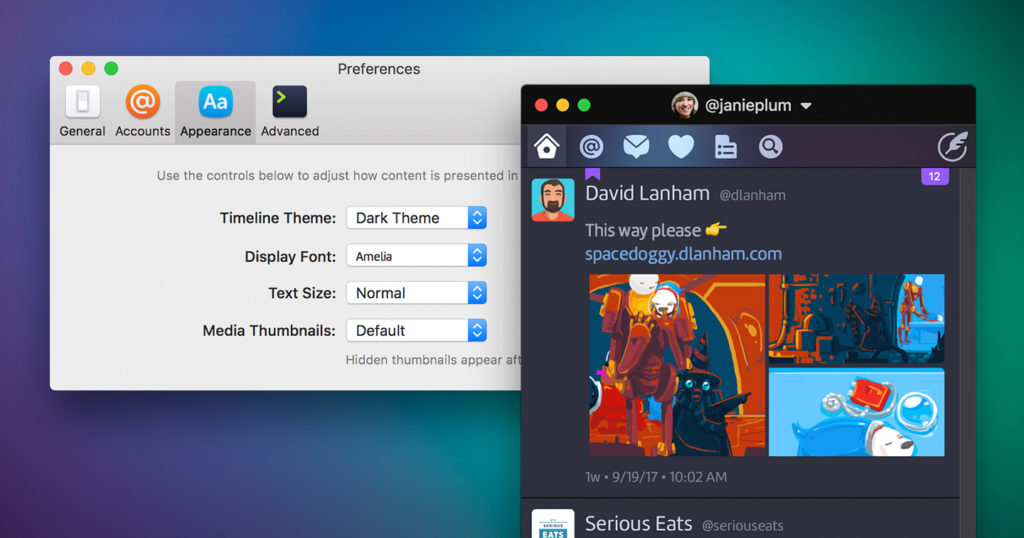 Twitterrific 5 for Mac Appearance Settings