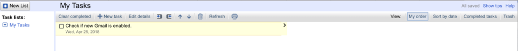 Old Google Tasks UI