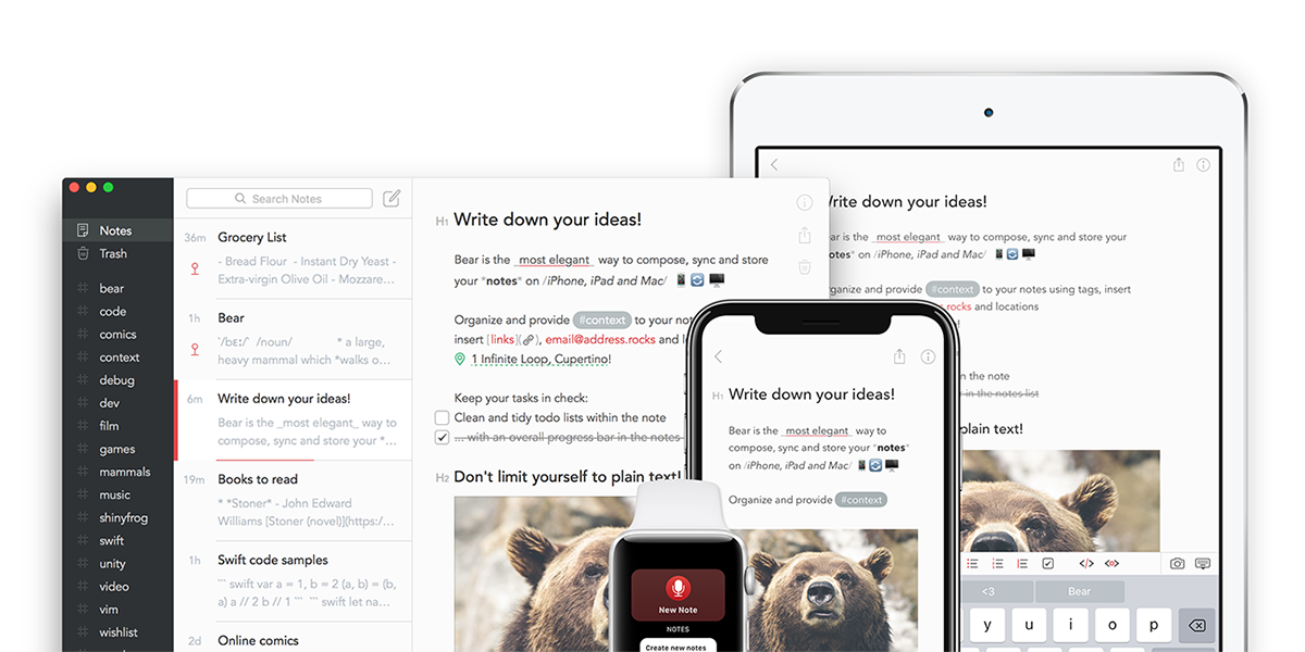 Bear 1.5 Introduces Notes Archive, Custom Icons for Tags, ePub Export & More