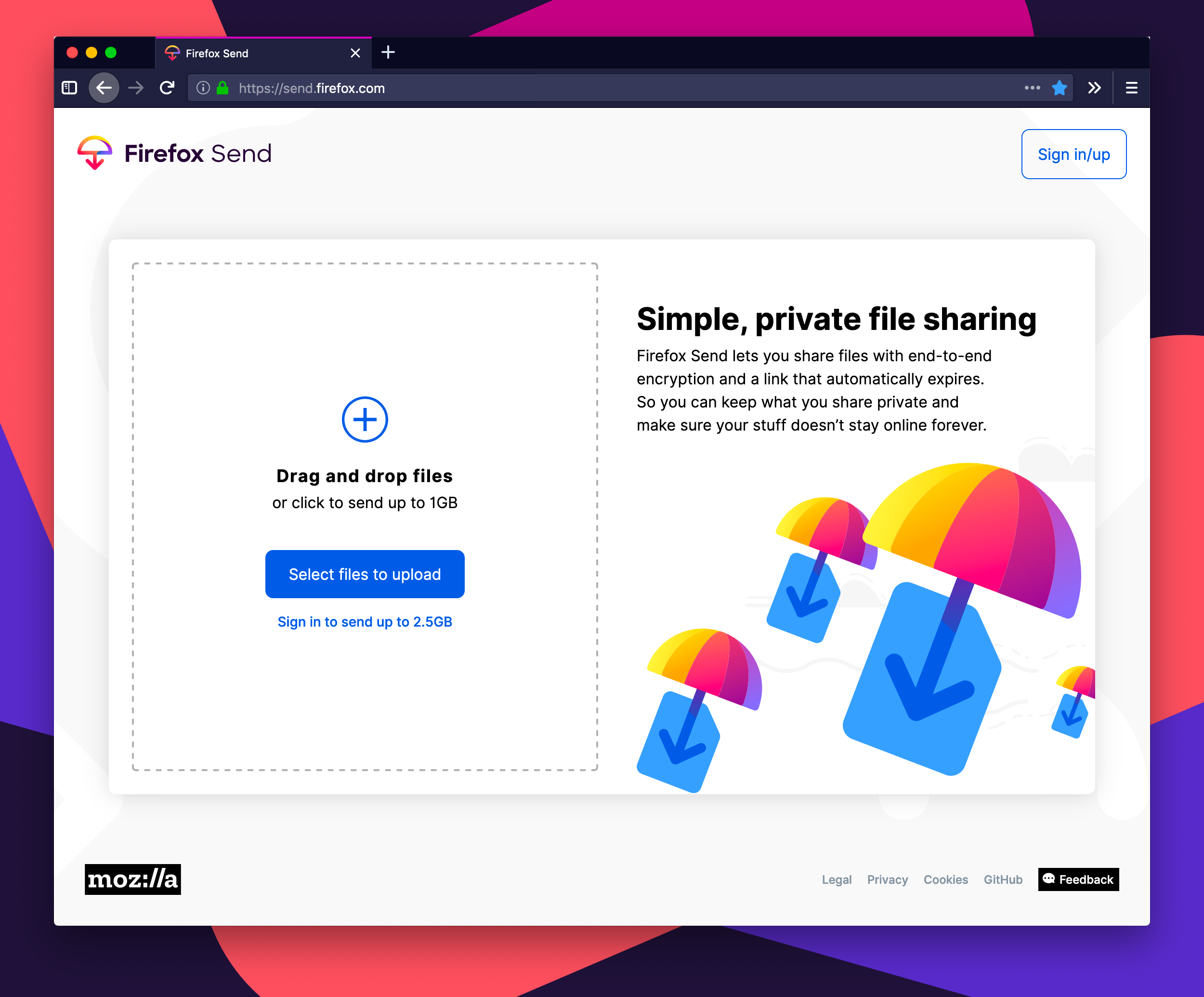 Firefox Send File Sharing Service