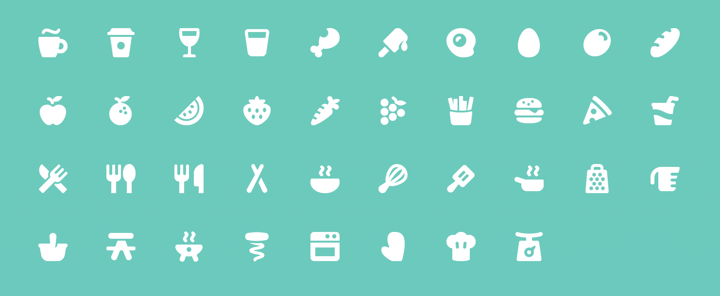 Pixi Icons for Food and Beverages