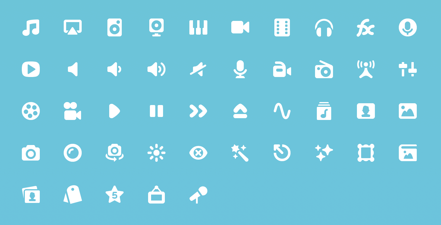 Pixi Icons for Photo, Audio, and Video