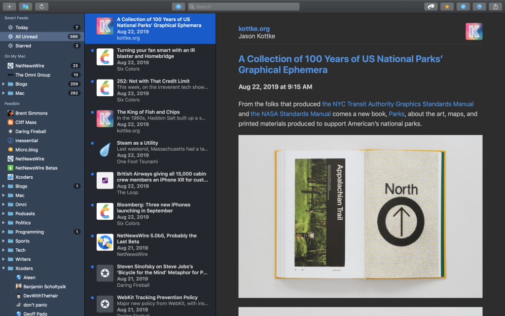 NetNewsWire 5.0 for Mac Dark Theme Screenshot