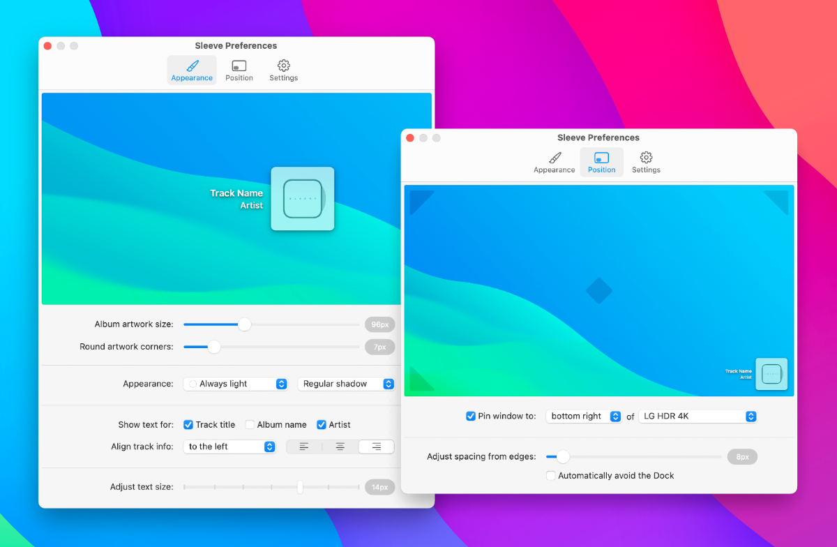 Sleeve is a Gorgeous Now Playing Widget for your Desktop